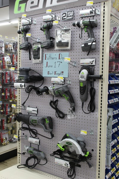 Power Tools on Wall Display